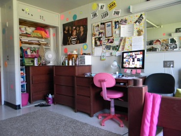 Polka-dots galore, welcome to my freshman dorm room.