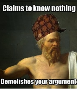 """Scumbad Socrates"" prepared to pester you at the forum [image from perceptemeu]"