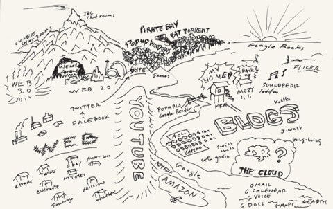 A map of the Internet by Wired founding editor Kevin Kelly, image via Brain Pickings.