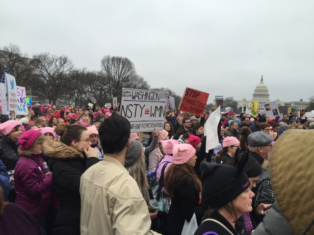 Picture of protestors at the Women's March holding sides defending women and attacking Trump, Capitol in the background